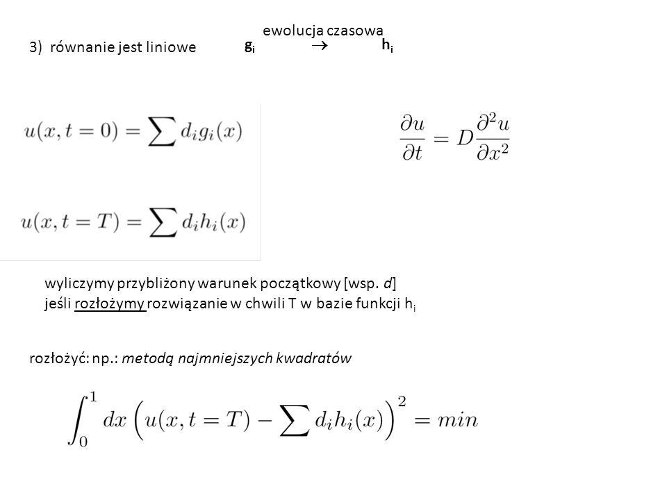 ewolucja czasowa 3) równanie jest liniowe. gi  hi. wyliczymy przybliżony warunek początkowy [wsp. d]